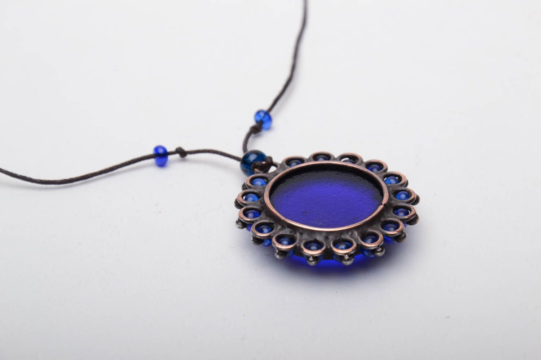 Designer copper pendant with blue glass photo 4