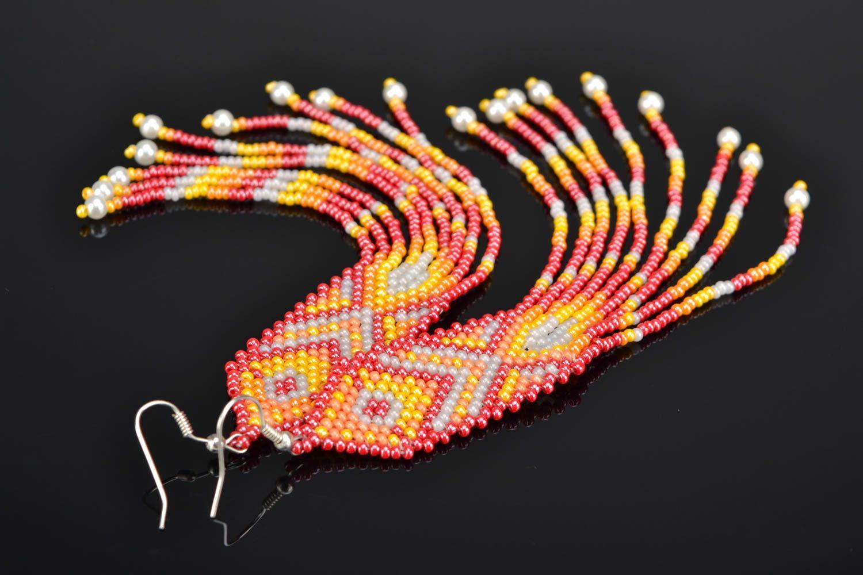 Long beaded earrings in ethnic style photo 1