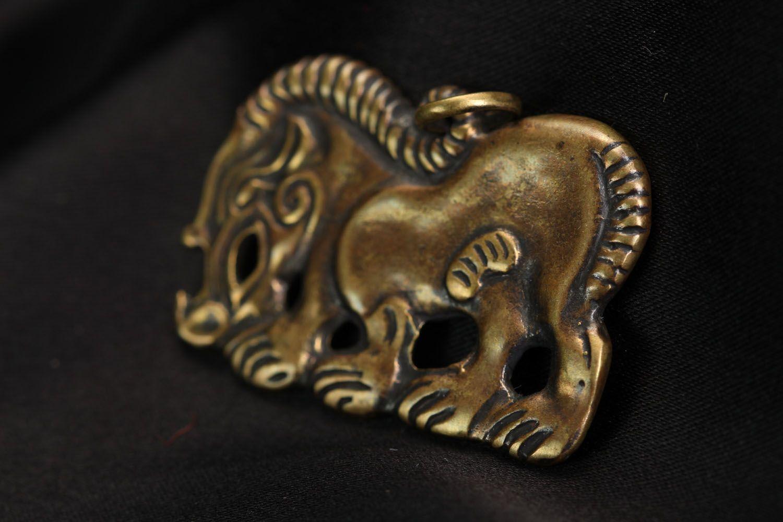 Handmade bronze pendant Scythian Wild Boar photo 2