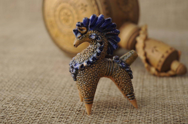 Penny whistle made from gray oposhnya clay photo 2