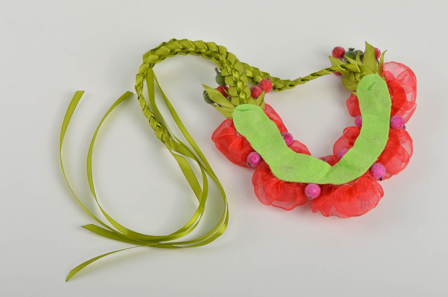 Unusual handmade textile necklace costume jewelry fashion accessories gift ideas photo 4