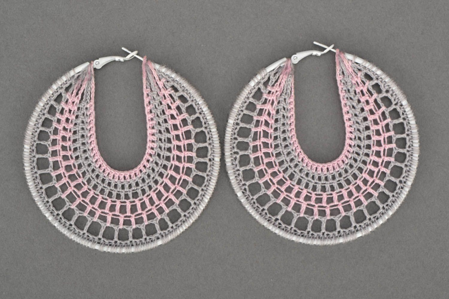 Crochet earrings Pink and Gray photo 3