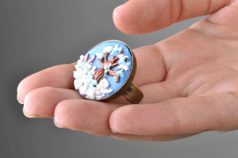 Кольцо из полимерной глины Зимний пейзаж фото 2