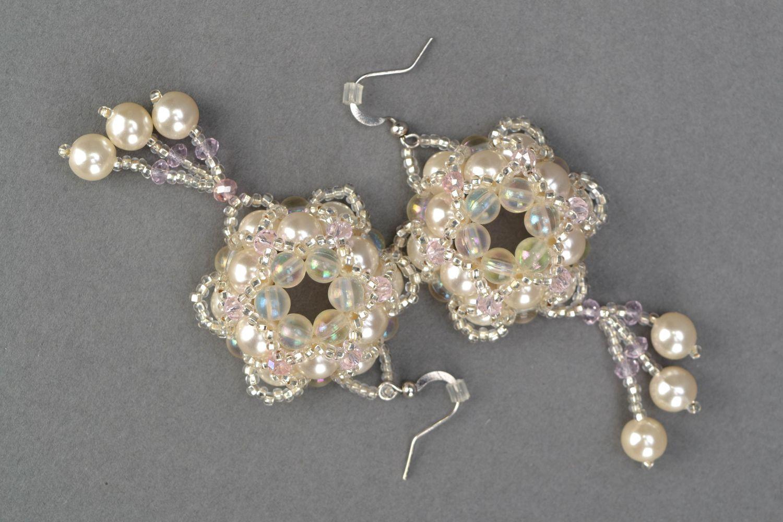 Crystal bead earrings Tenderness photo 3