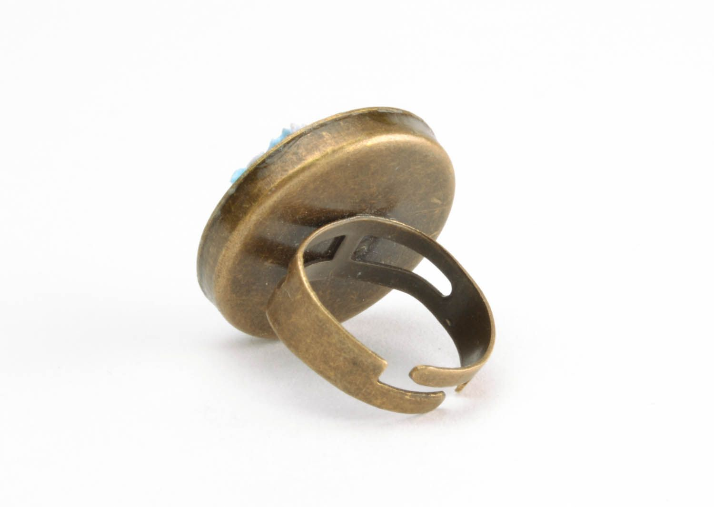 Кольцо из полимерной глины Зимний пейзаж фото 5