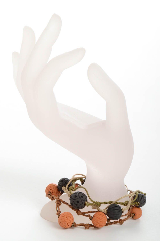 Set of 2 handmade woven bracelets wrist bracelets with clay beads jewelry trends photo 3
