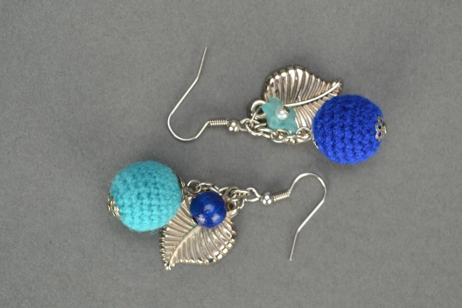 Crocheted earrings Blue Wonder photo 3