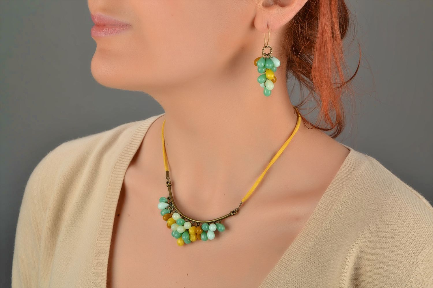 Beautiful women's handmade designer suede cord necklace with Czech glass beads photo 1