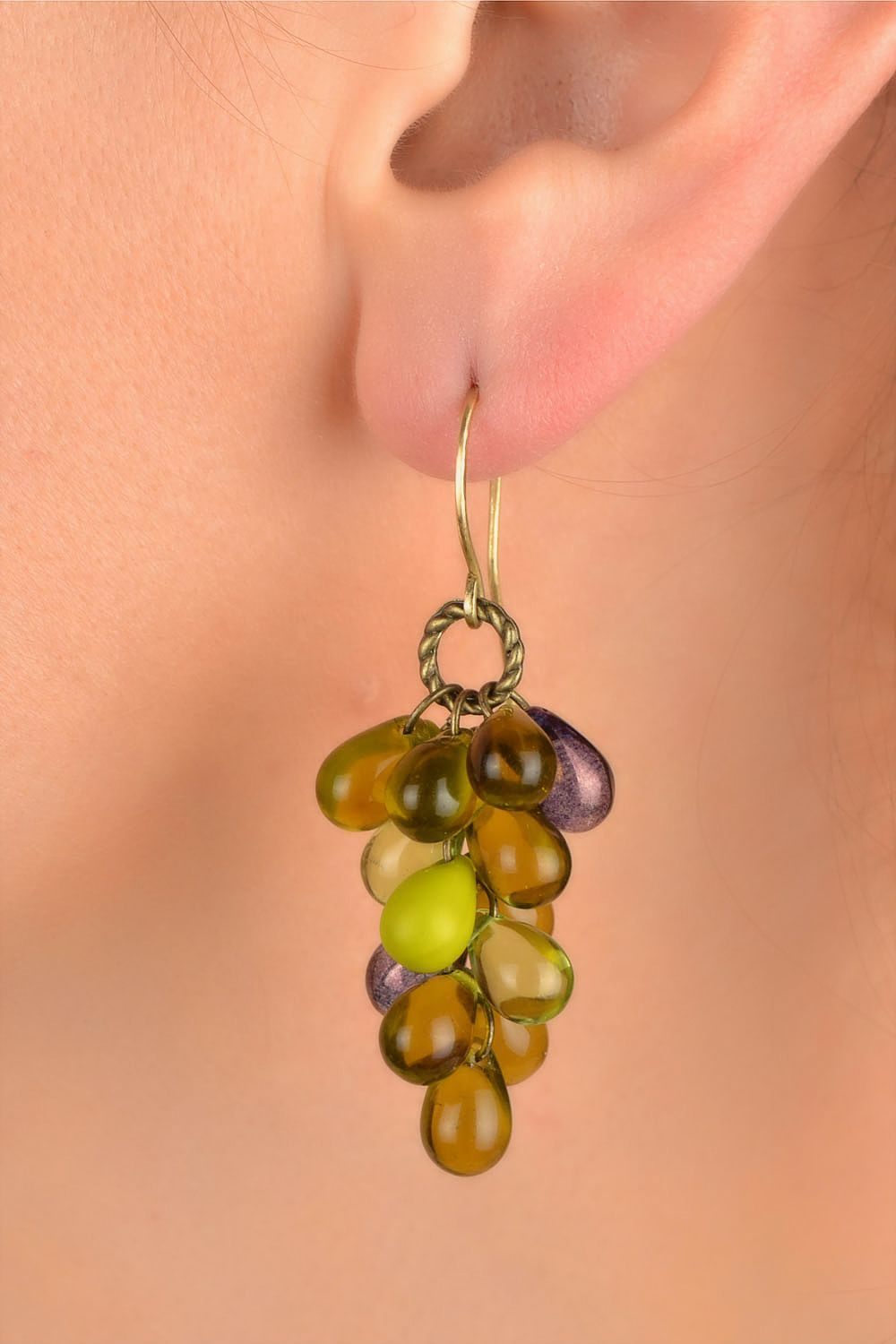 Handmade designer glass bead earrings in green color palette Bunches photo 5