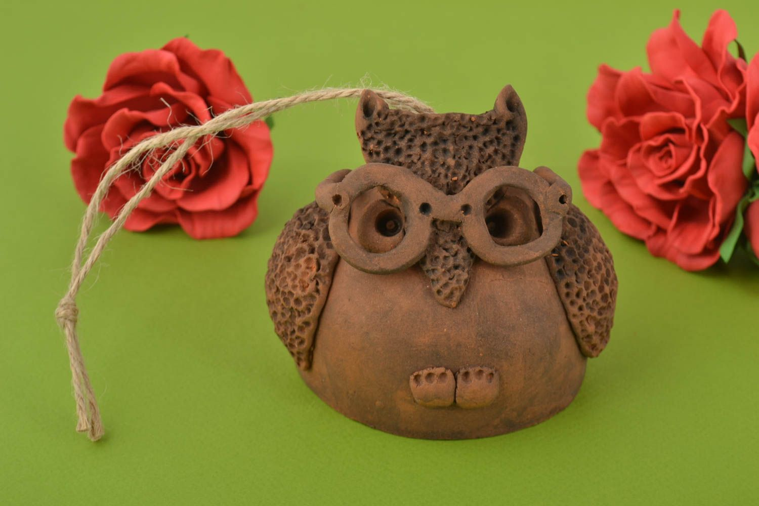 Handmade clay bell in shape of owl wall pendant on lace photo 1
