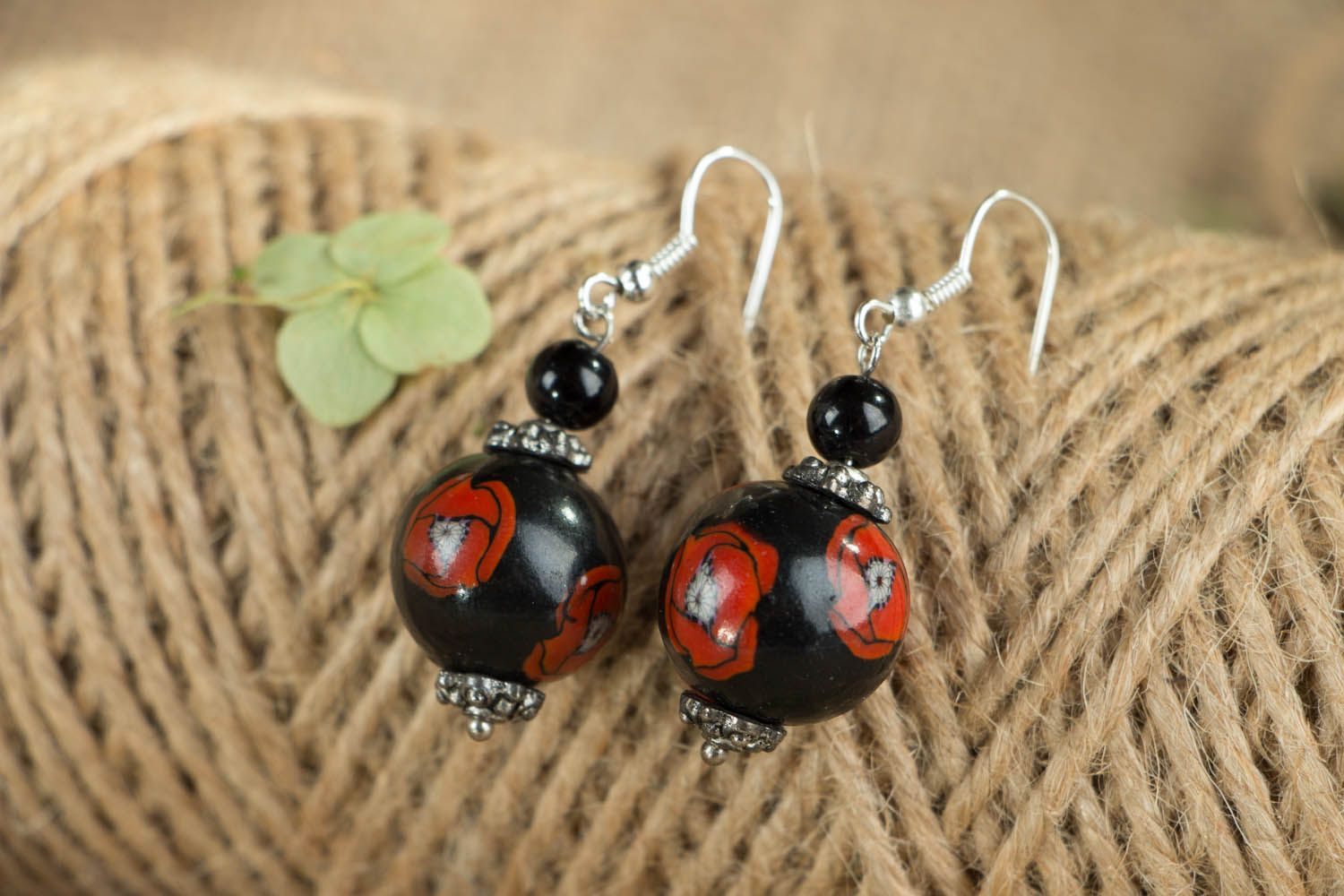 Round polymer clay earrings Poppies photo 3