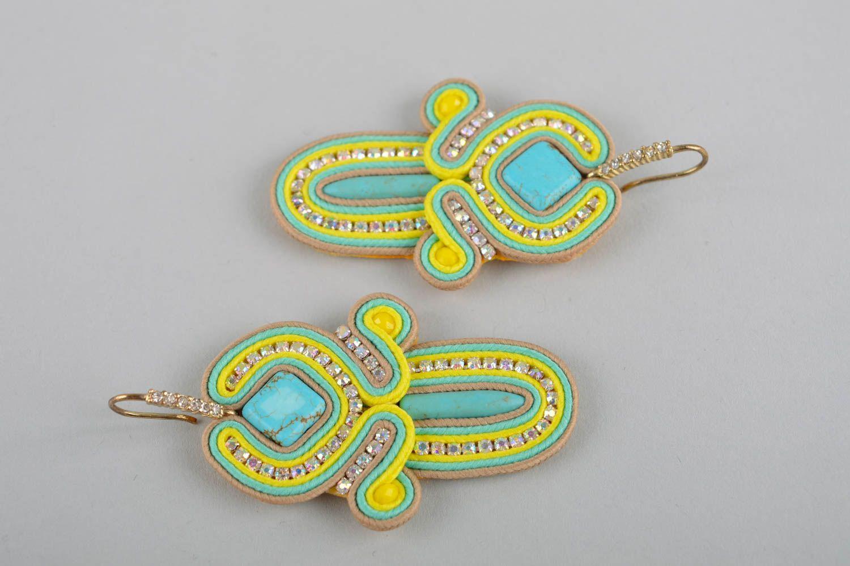 Handmade massive earrings dangling earrings soutache cute earrings gifts for her photo 5
