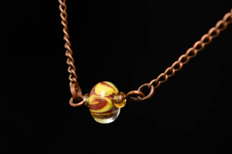 Wrist bracelet with lampwork glass bead photo 5