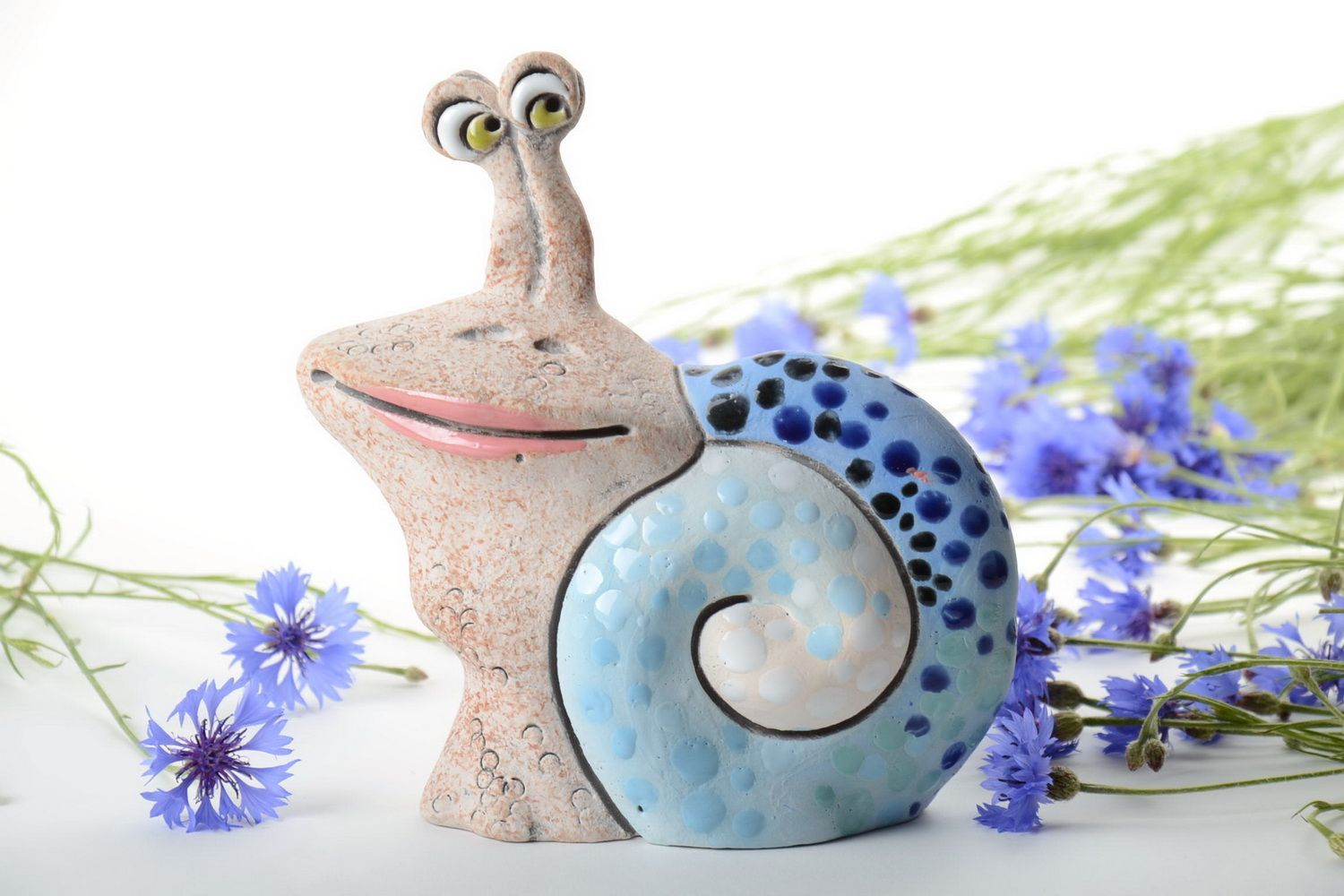 Handmade funny semi porcelain painted figurine in the shape of smiling snail photo 1