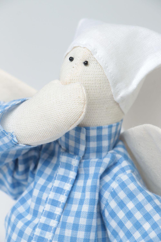 Handmade designer fabric soft doll sleepy angel in blue checkered night shirt photo 3