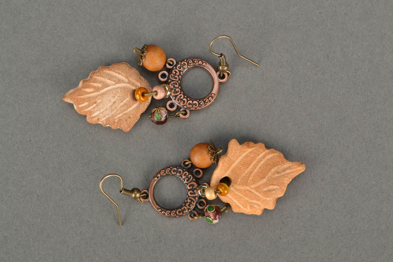 Lange Ohrringe aus Keramik Blätter  foto 3