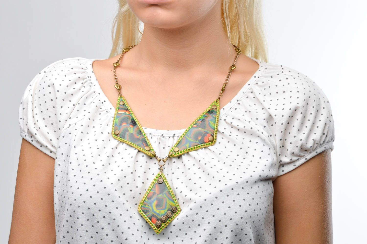Massive handmade plastic necklace cool jewelry accessories for girls gift ideas photo 3