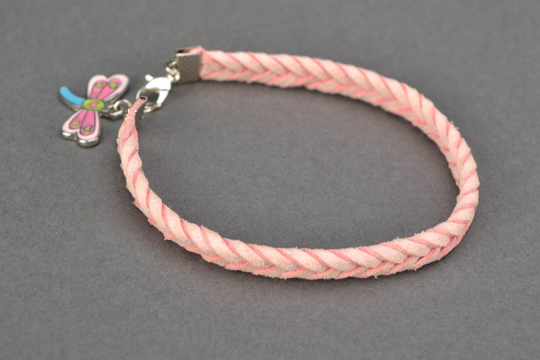 Pink natural suede bracelet for girls photo 4