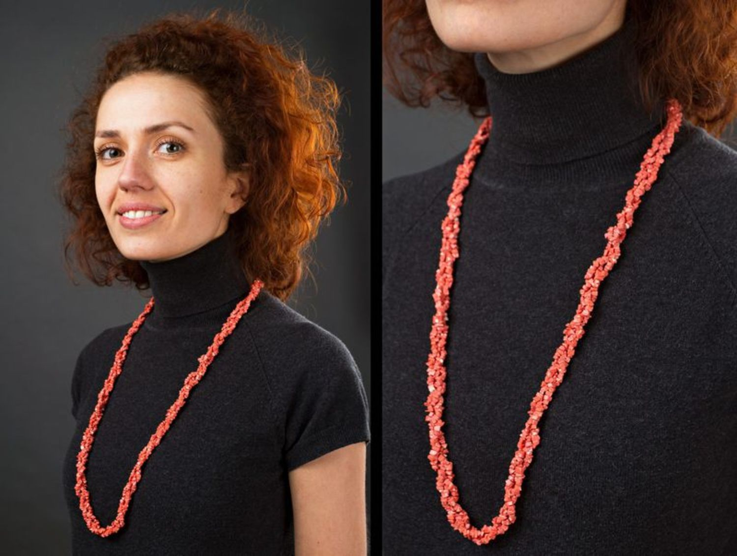 Coral long beaded necklace photo 5