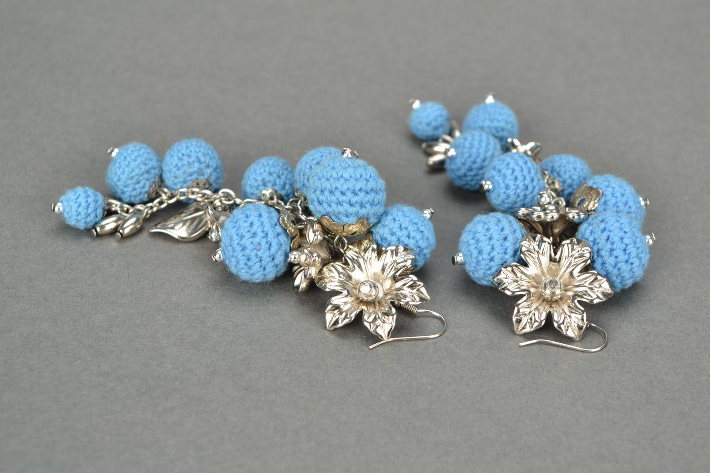 Crochet earrings Cornflower Paradise photo 4