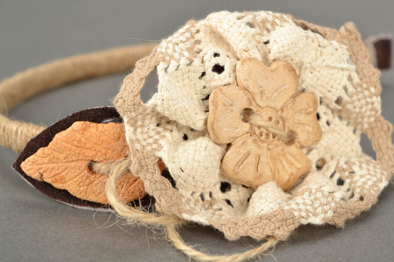 Head band with crocheted flower photo 5