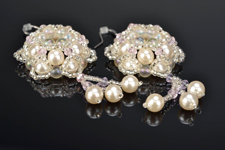 Crystal bead earrings Tenderness photo 1