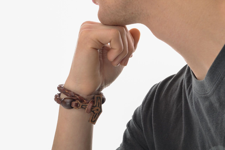 Handmade leather bracelet Thor's Hammer photo 5