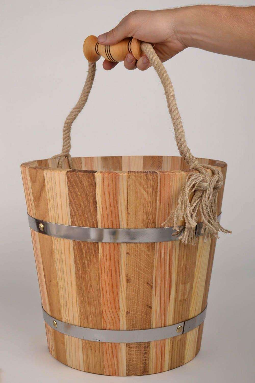Handmade wood bucket for bath sauna accessories sauna bucket present for men photo 5