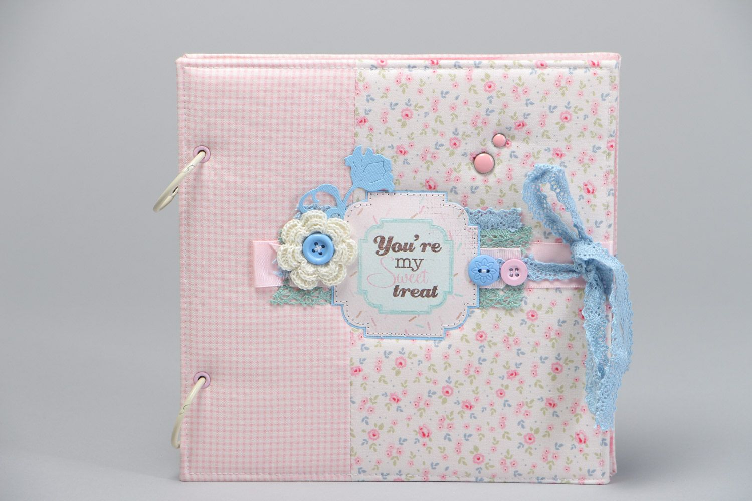 Handmade designer scrapbooking photo album for 25 pages in pink colors photo 2