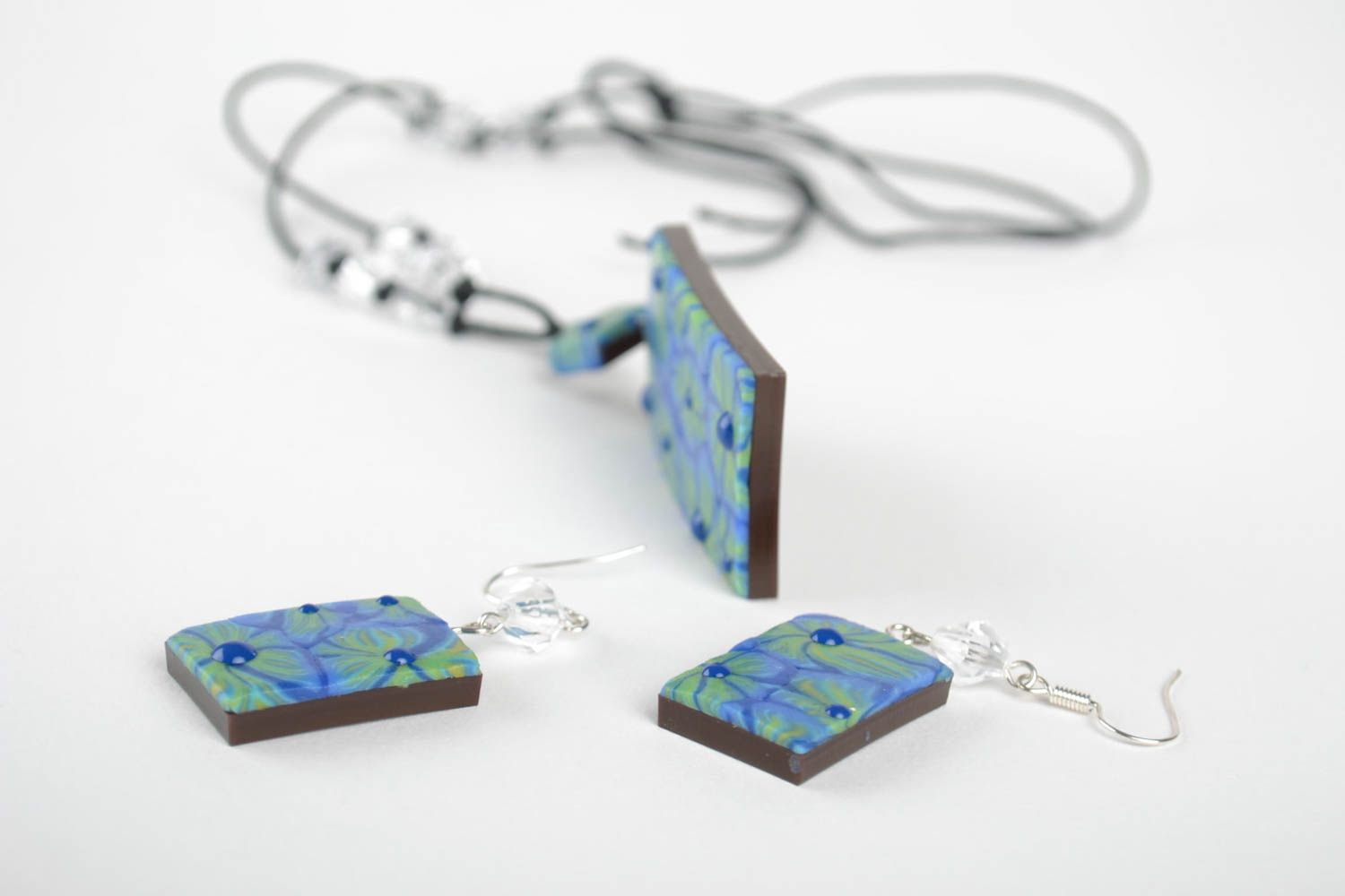 Handmade set of polymer clay jewelry unique designer accessories for woman photo 4