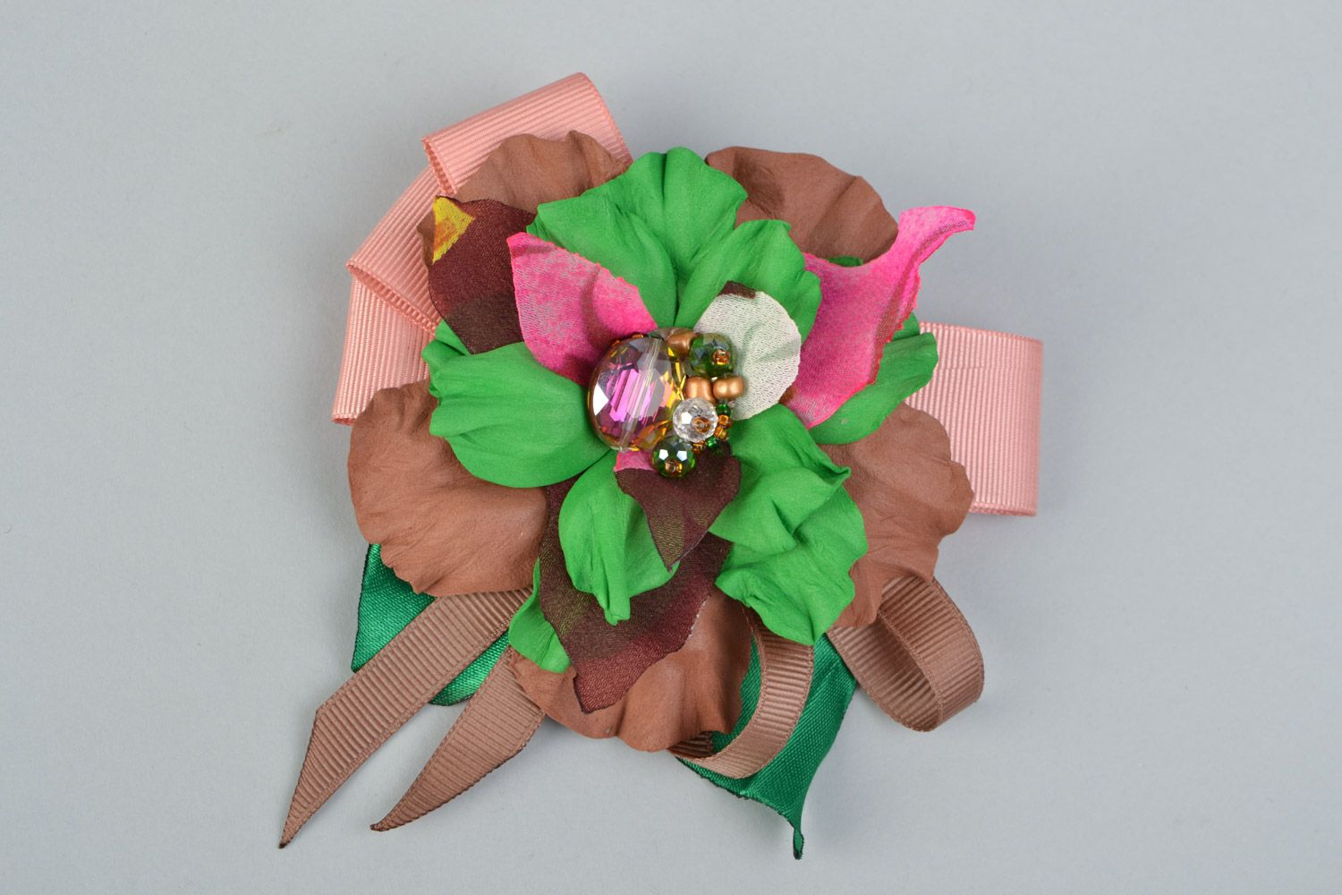 Handmade brown and green hair clip brooch with foamiran flowers and ribbon  photo 3