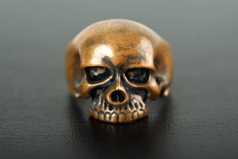 Skull ring handmade bronze ring skull jewelry handmade metal accessories photo 1