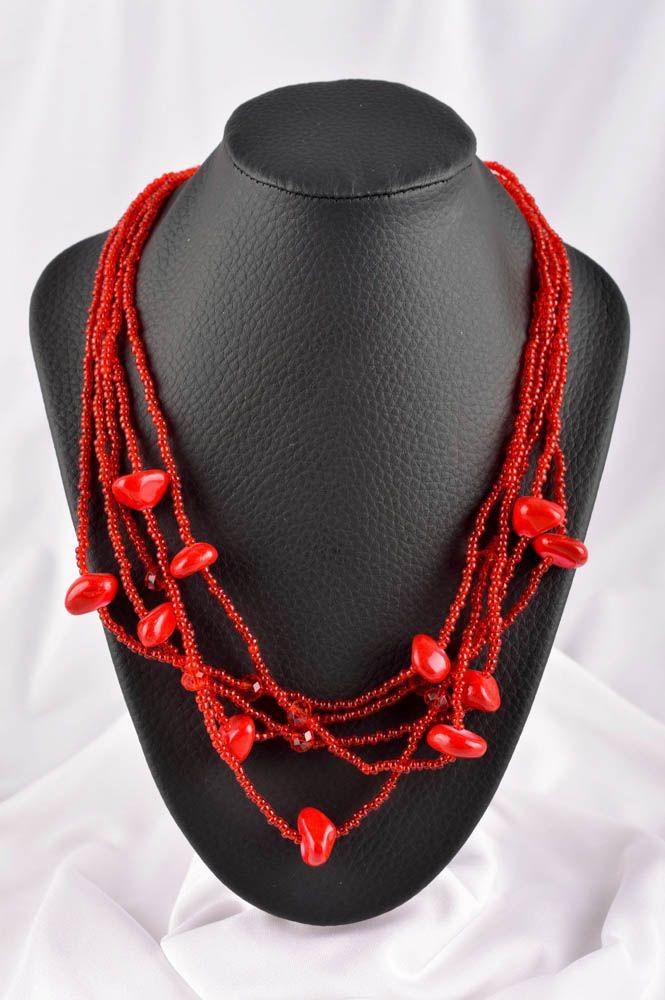 Колье из бисера украшение ручной работы красное многорядное ожерелье из бисера фото 1