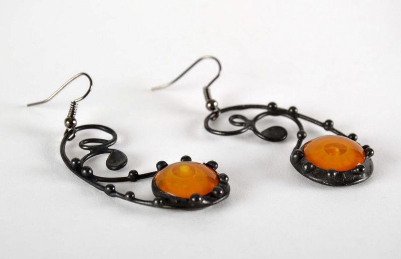 Beautiful long glass earrings photo 3