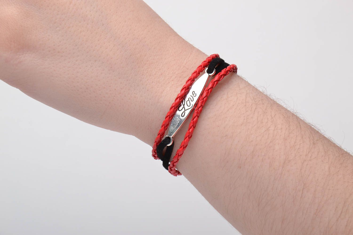 Genuine leather bracelet Red and Black photo 5