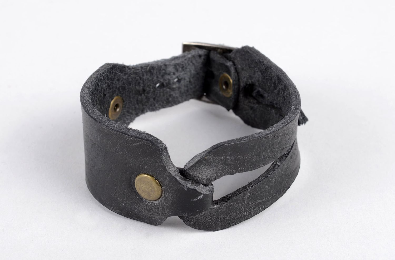 Damen Lederarmband handmade exklusiver Schmuck Armband schwarz, stilvoll  foto 1