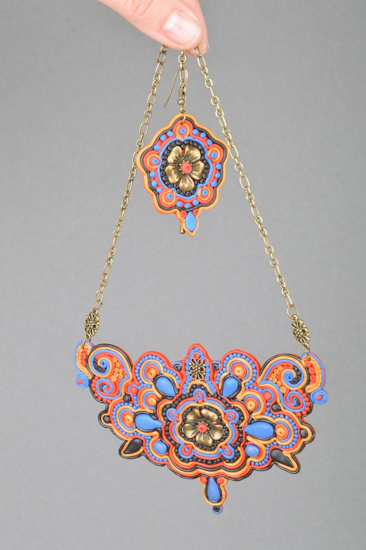 Elegantes handmade Schmuck Set aus Polymerton lange Ohrringe mit Anhängern und Collier für Damen foto 2