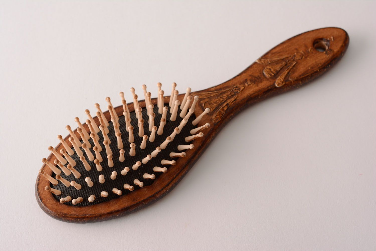 Handmade wooden hair brush stylish decoupage hair brush unusual brush for hair photo 1