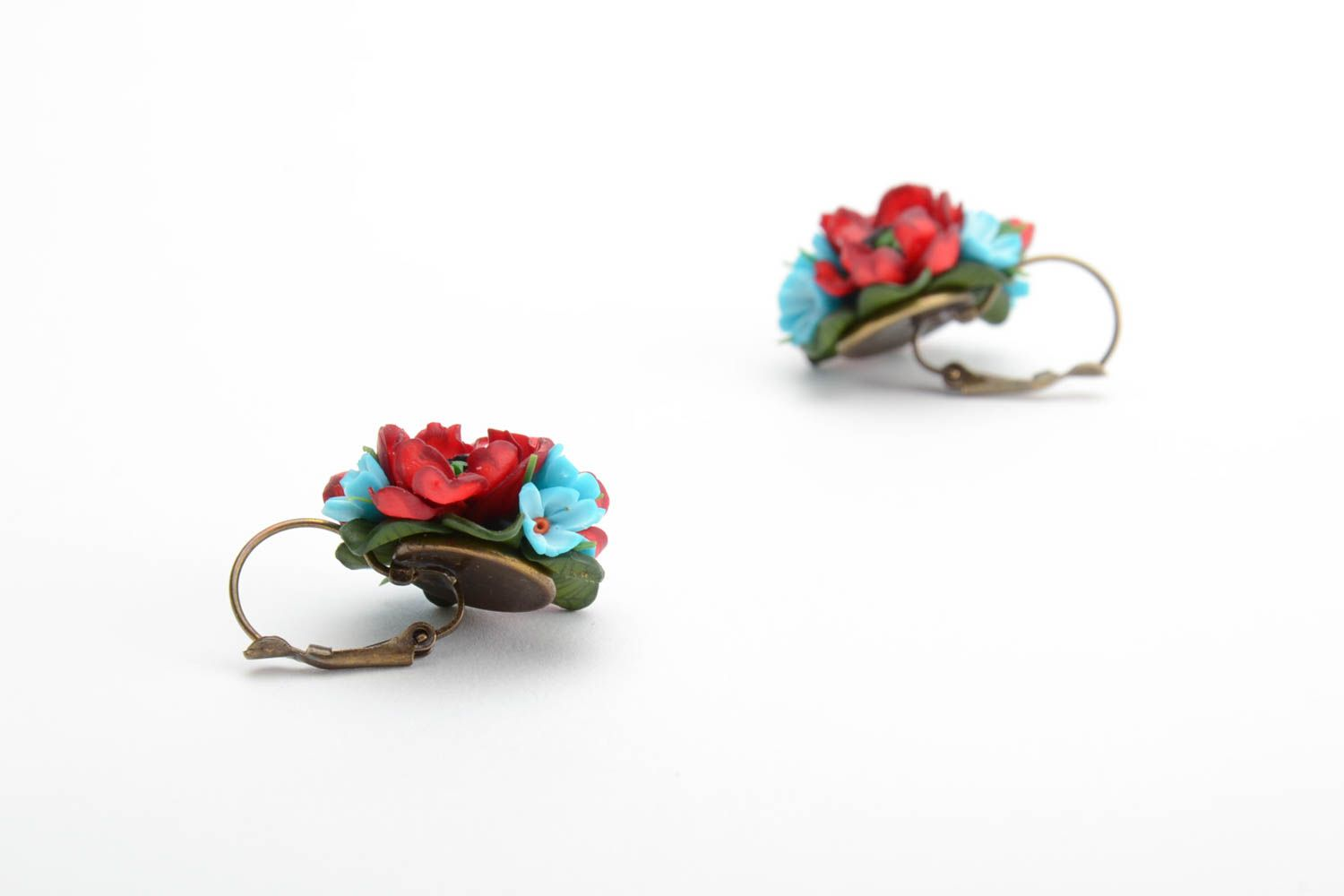 Handmade volume earrings with small red and blue polymer clay flower bouquets photo 5