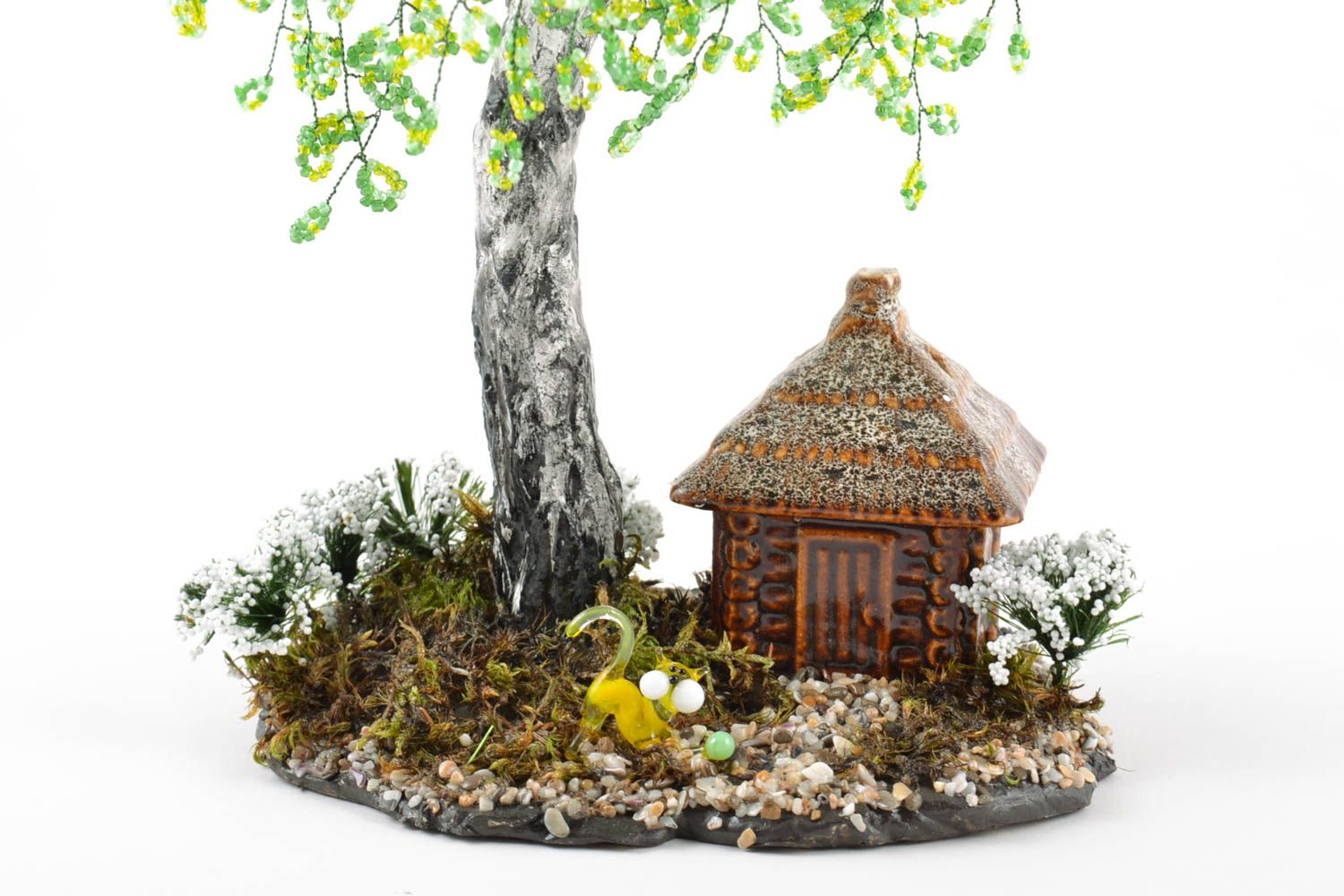 Handmade beaded birch tree on stand with small ceramic house and cat figurine photo 5