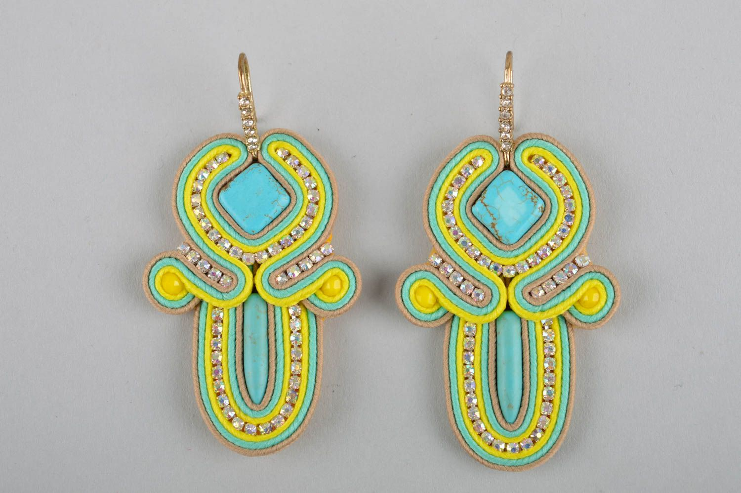 Handmade massive earrings dangling earrings soutache cute earrings gifts for her photo 3