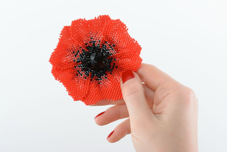 Beaded brooch Poppy photo 5