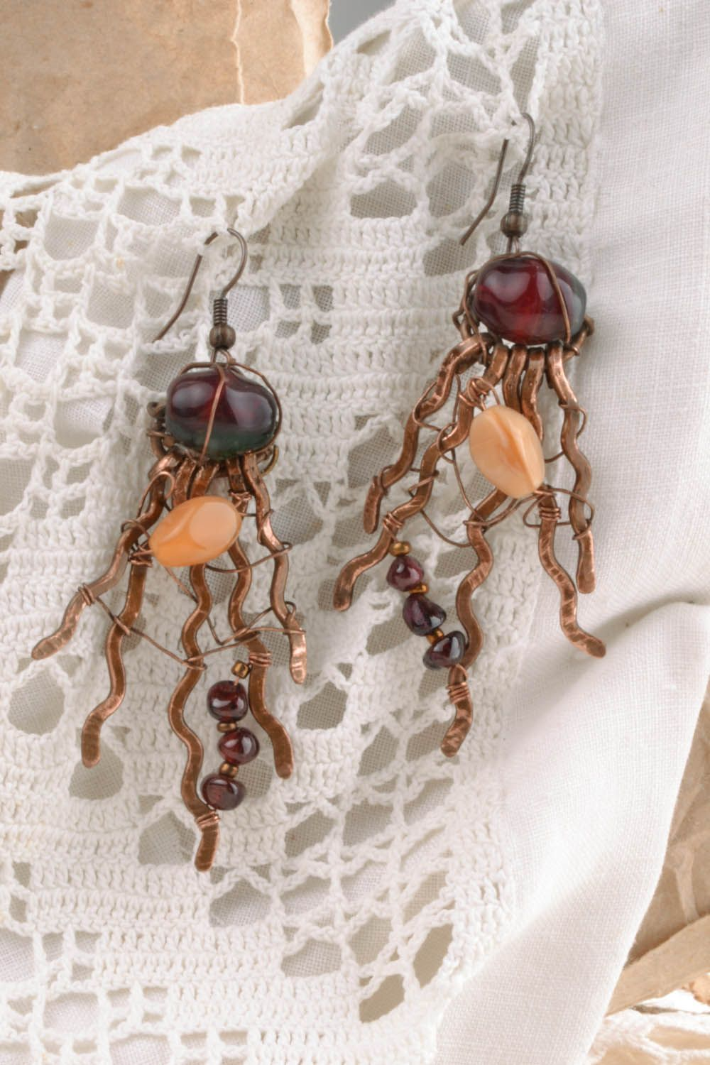 Copper earrings with natural stones photo 5