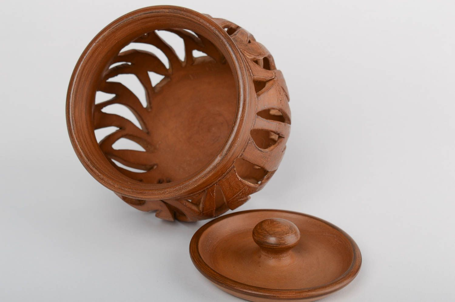 Brown handmade designer large terracotta clay aroma lamp with lid photo 4
