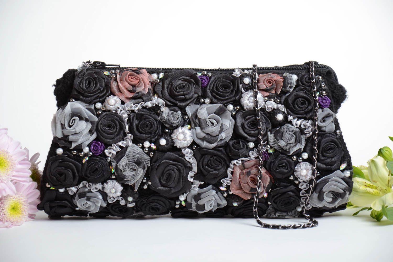 women s handbags Handmade small designer crocheted black clutch bag with  satin ribbon flowers - MADEheart.