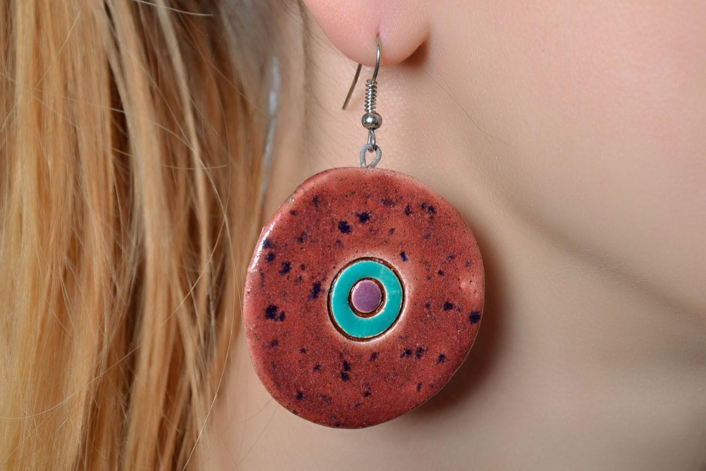 Round ceramic earrings photo 2