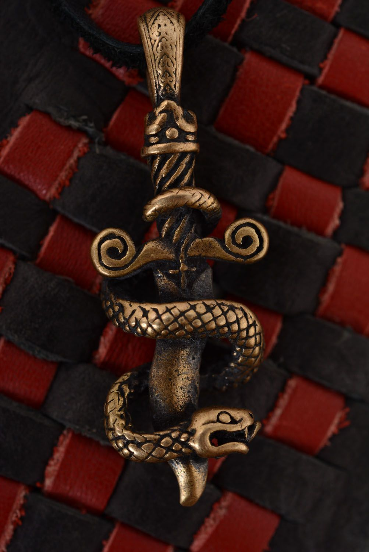 Бронзовая подвеска Змея и меч фото 5