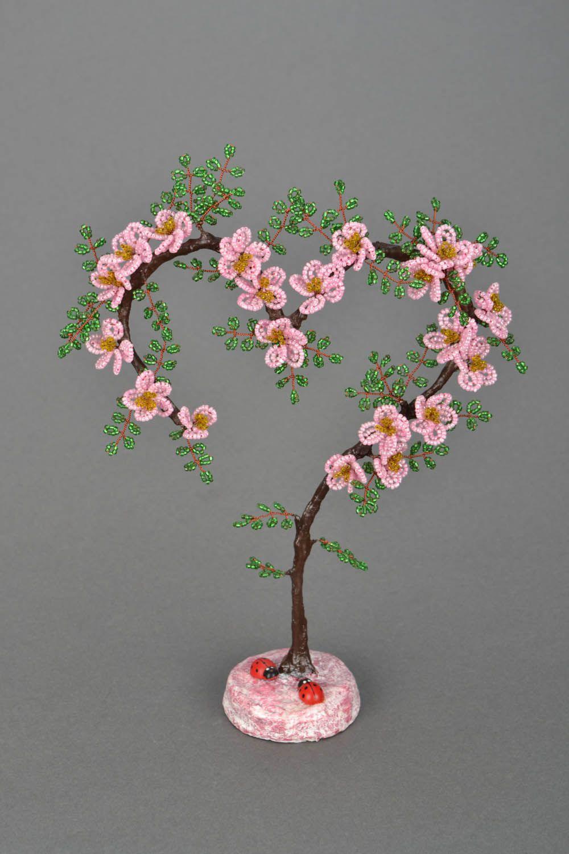 Мастер-класс. Цветущее дерево из бисера. Сердце 7