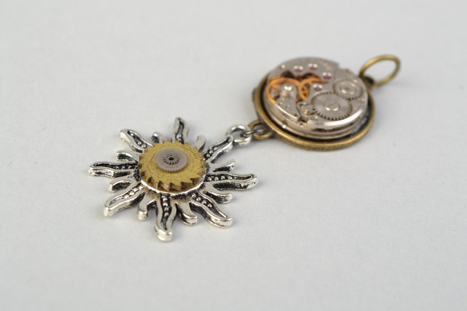 Handmade metal pendant with clock mechanism in steampunk style Sun and Time photo 4