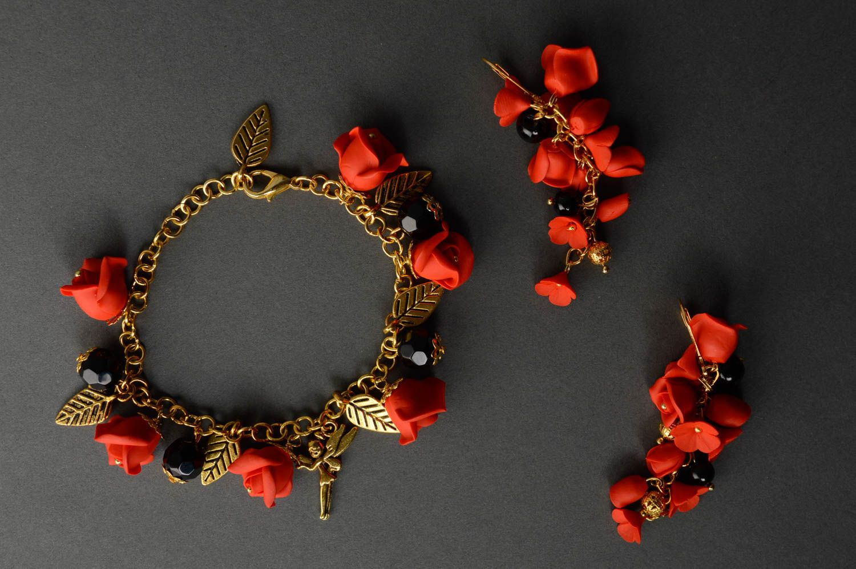 Handmade plastic jewelry set Red Roses photo 3